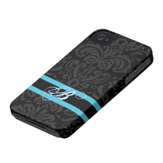 Black & Dark Gray Vintage Floral Damasks Pattern iPhone 4 Cases