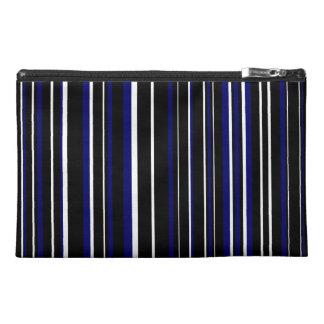 Black, Dark Navy Blue, White Barcode Stripe Travel Accessories Bag