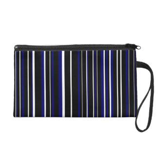 Black, Dark Navy Blue, White Barcode Stripe Wristlet Clutches