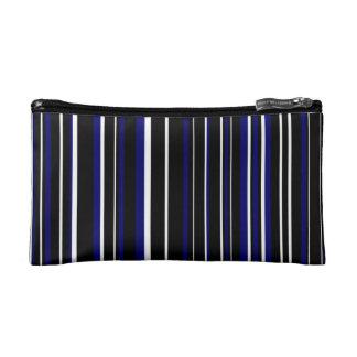 Black, Dark Navy Blue, White Barcode Stripe Makeup Bag