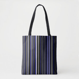 Black, Dark Navy Blue, White Barcode Stripe Tote Bag