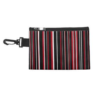 Black, Dark Red, White Barcode Stripe Accessory Bag