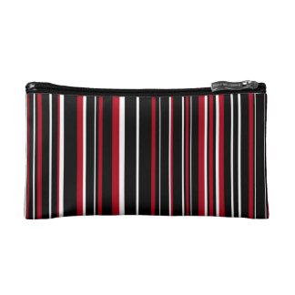 Black, Dark Red, White Barcode Stripe Cosmetic Bag