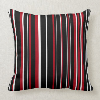 Black, Dark Red, White Barcode Stripe Cushion
