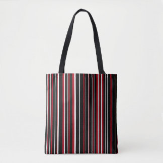 Black, Dark Red, White Barcode Stripe Tote Bag
