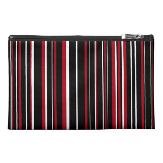 Black, Dark Red, White Barcode Stripe Travel Accessory Bags