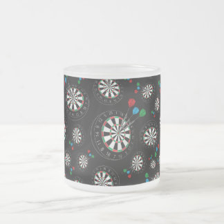Black dartboard pattern frosted glass coffee mug