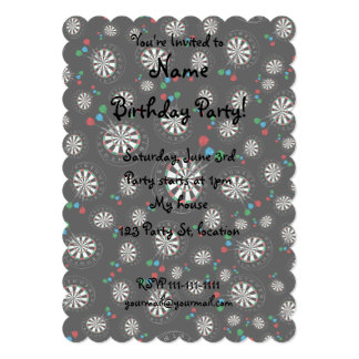 Black dartboard pattern custom invitations