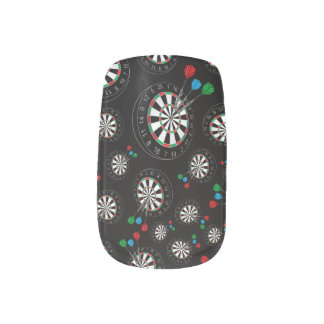 Black dartboard pattern minx nail art