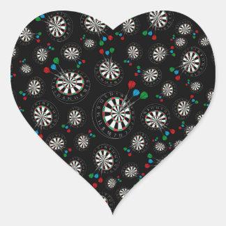 Black dartboard pattern heart sticker