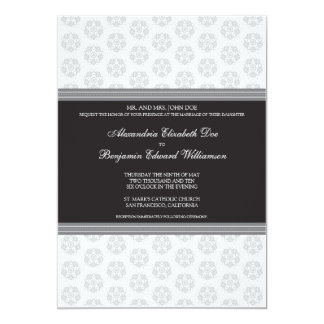 Black Decorative Stamp Formal Wedding Invitation
