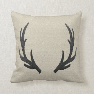 Black Deer Antlers Pillow
