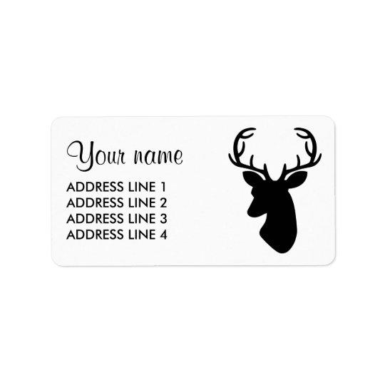 Black Deer Head Silhouette Label