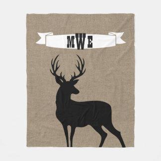 Black Deer Ribbon Monogram Fleece Blanket
