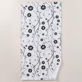 Black Delicate Flowers Seamless Pattern Beach Towel