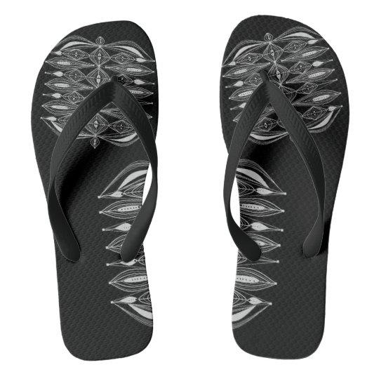 Black Design Flip Flops