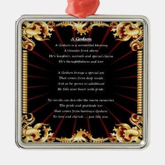 Black Design  Godson poem Christmas Ornament