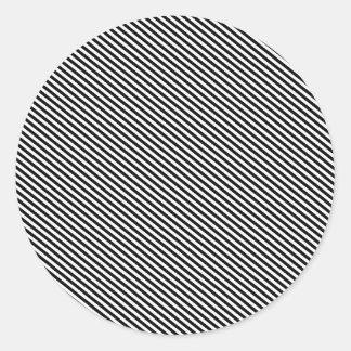 Black Diagonal Stripes Round Sticker