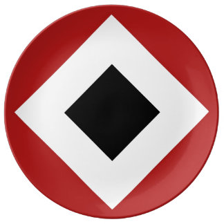 Black Diamond, Bold White Border on Red Plate
