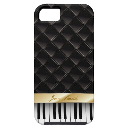 Black Diamond Gold Stripe Piano Look iPhone 5