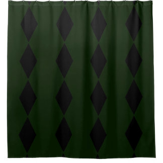 Black Diamond Green Shower Curtain