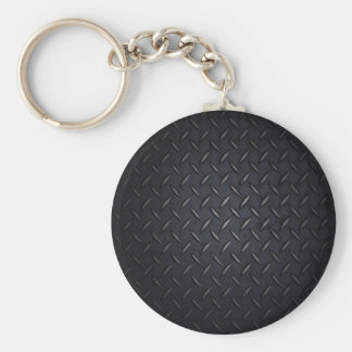 Black Diamond Plate Metal Basic Round Button Key Ring