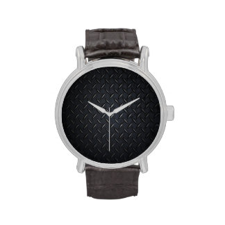 Black Diamond Plate Metal Wristwatch