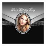 Black Diamond Womans Photo Birthday Party 13 Cm X 13 Cm Square Invitation Card