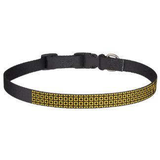 Black Diamonds and Gold Squares Pet Collar