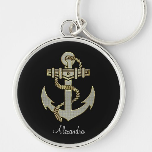 Black Diamonds And Gold Tones Anchor-Monogram Key Chain