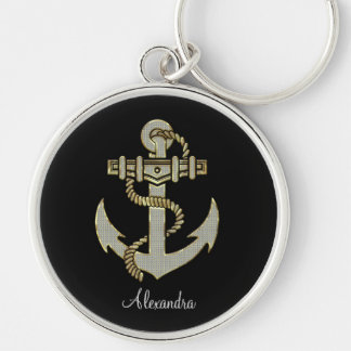 Black Diamonds And Gold Tones Anchor-Monogram Silver-Colored Round Key Ring