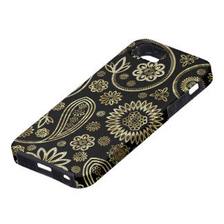 Black Diamonds And Gold Vintage Floral Paisley Tough iPhone 5 Case
