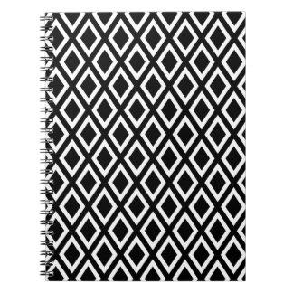 Black diamonds pattern spiral note book