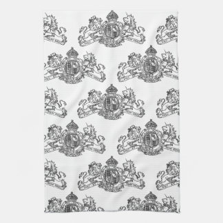 Black Dieu et Mon Droit British Coat of Arms Tea Towel