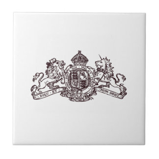 Black Dieu et Mon Droit British Coat of Arms Tile