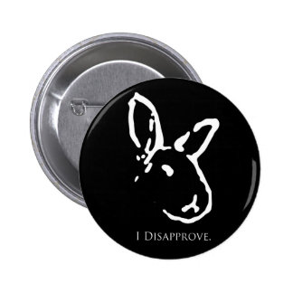 Black Disapproving Rabbits Button