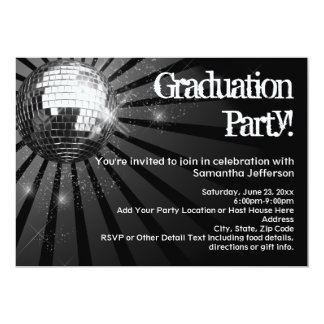 "Black Disco Ball Graduation Party Invitations 5"" X 7"" Invitation Card"