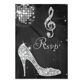 Black Disco Ball Sparkle Heels RSVP 9 Cm X 13 Cm Invitation Card