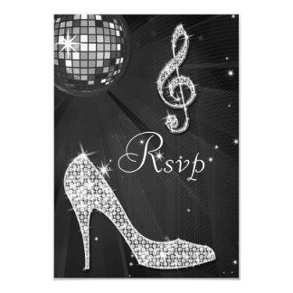 Black Disco Ball Sparkle Heels RSVP Card