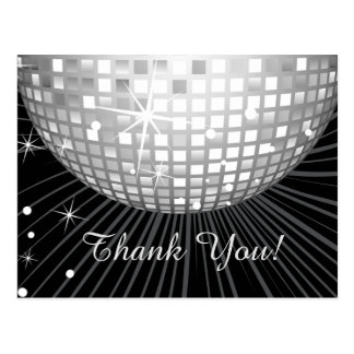 BLACK, DISCO PARTY, DANCE, BIRTHDAY THANK YOU CARD POSTCARD