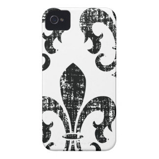 Black distressed fleurdelis stylish iphone 4 case