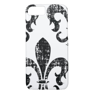 Black distressed fleurdelis stylish iPhone 7 case