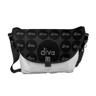 Black DIVA polka-dots Elegant Rickshaw Messenger Courier Bags
