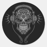 Black DJ Sugar Skull Classic Round Sticker