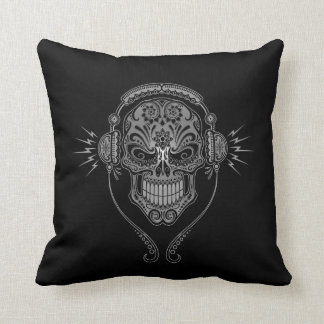 Black DJ Sugar Skull Cushion