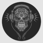 Black DJ Sugar Skull Round Sticker