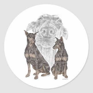 Black Doberman Dogs Classic Round Sticker