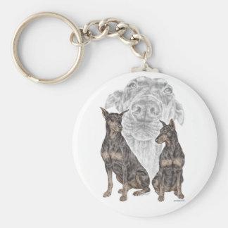 Black Doberman Dogs for keys Key Ring