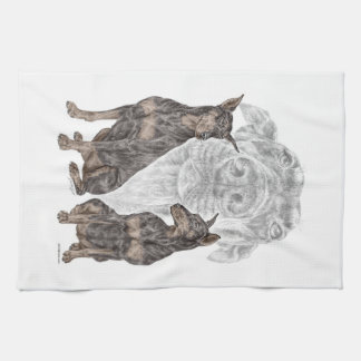 Black Doberman Dogs Tea Towel