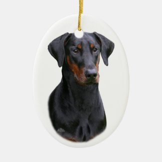 Black Dobermann Pinscher natural ears ornament